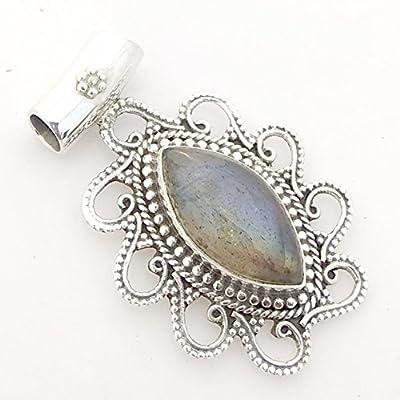Natural Labradorite Vintage 925 Sterling Silver Pendant