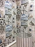 Beach Tapete Nautisches Badezimmer Pebbles Love Herzen blau grau rustikal Maritime