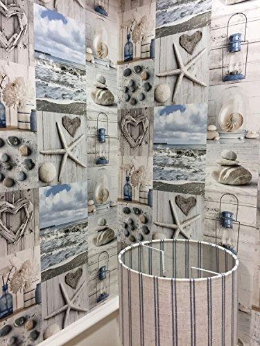 Beach Tapete Nautisches Badezimmer Pebbles Love Herzen blau grau rustikal Maritime (Nautische Dekoration Für Wohnzimmer)
