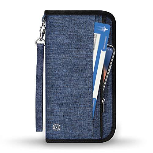 Reisepass Tasche Reisepasshülle RFID-Blocker Schutzhülle | Familien Reise Brieftasche Pass Hülle Passport Etui Ausweistasche Dokumente Organizer für Damen/Herren 25 x 14 cm blau-schwarz