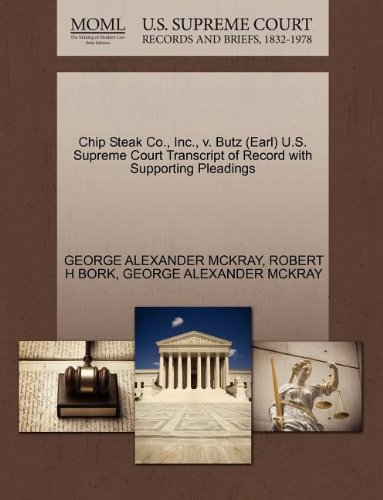Chip Steak Co., Inc., V. Butz (Earl) U.S. Supreme Court Transcript of Record with Supporting Pleadings Supreme Steak