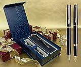 Waterman Hemisphere Füllfederhalter und Kugelschreiber Set–Lack gold trim in spezieller Geschenkbox mit gratis Gravur Pen Pouch und Custom