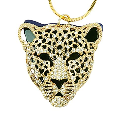 Tiger Head Pendant Necklace Gold Tone Crystal Embeded with Quality IP Plated Chain 32 Inches. Luxury Large Panther Cat Design PN-22