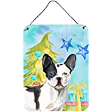 "Caroline's Treasures Black White French Bulldog Christmas Metal Print, 16"" X 12"", Multicolor"