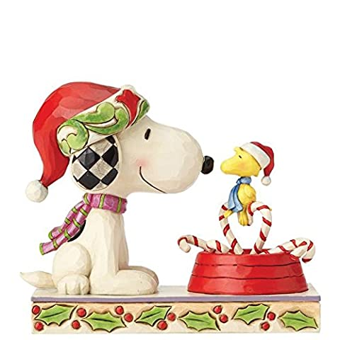 Heartwood Creek 4057678 Peanuts by Jim Shore Candy Cane Christmas - Snoopy und Woodstock Figurine, Resin, Multicolour, 6.5 x 15 x 12.5 cm