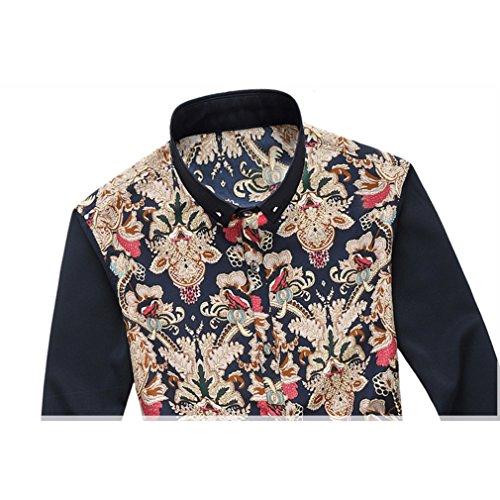 Honghu Herren Casual Stretch Modern Fit Langarm Button-down Blumen Printing Hemden Rot