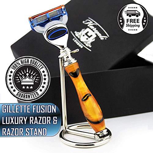 Neue Ausgabe - Ambar & Schwarz - Gillette Fusion Rasiermesser mit kompatiblem Luxus-Griff und Edelstahl-Chrom-Rasiermesser-Stand - Perfektes Duo für jeden Rasierer