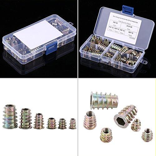 Preisvergleich Produktbild 50er Zink-Legierung Schraub Typ Hex Antrieb Gewinde Einsetzmuttern Sortiment M4 / M5 / M6 / M8 / M10
