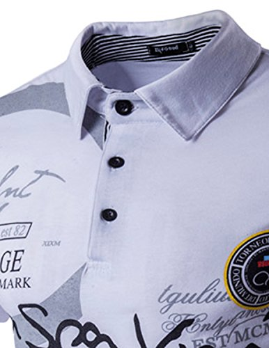 YCHENG Freizeit Kurzarm Poloshirts für Herren Slim fit tshirt Hemd Weiß