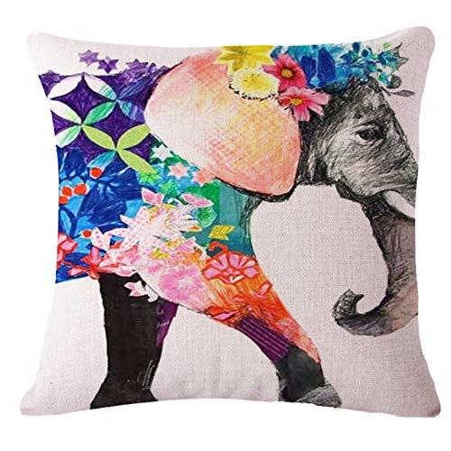 MMLUCK Sofá Almohada con núcleo Serie Animal Estilo 45 * 45 cm Cuadrado Almohada Decorativa para el hogar Elefante Impreso Cojines Coche Decoración para el hogar Funda de cojín Cojines