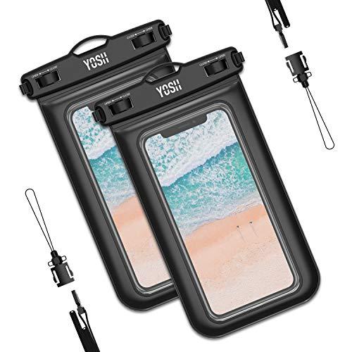 YOSH wasserdichte Handyhülle Unterwasser Wasserfeste (2 stück) Handytasche Wasserdicht für iPhone 11 pro Xs Max XR X 6 7 8 Samsung S10 S9 S8 Huawei Mate 20/P30/P20 Xiaomi bis zu 6,1 Zoll (schwarz)
