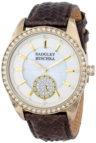 badgley-mischka-womens-ba-1316wmbn-swarovski-crystal-accented-gold-tone-brown-snakeskin-strap-watch