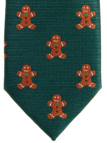 Retreez Cravate fine en microfibre tissé Bonhomme en pain d'épices de Noël–Différentes couleurs green