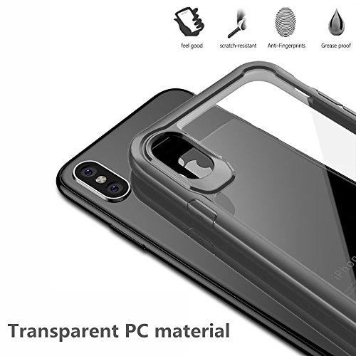 Custodia iPhone X, PULEN [Ultra Hybrid] [Absorption-Shock] Slim Protezione e Premium chiarezza Case Air-Cushion Absorption Technology Cover Protettiva con Impact Absorbing Gomma e pannello posteriore  Grigio