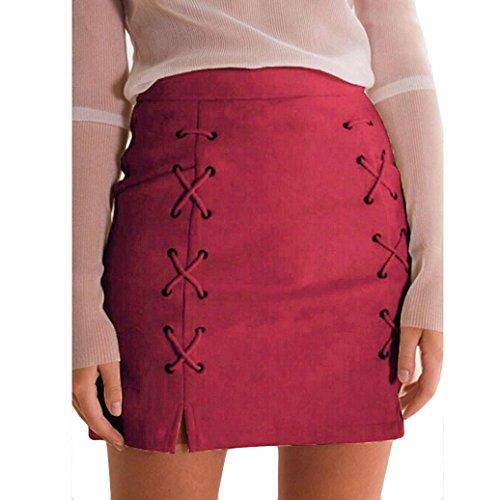 ADESHOP Femmes Bandage Tissu Suede Fabric Mini Sexy Jupe Slim Stretch Sans Couture Jupe Rouge