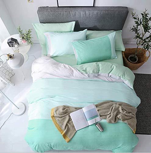 Europäische ägyptische Baumwolle Bettwäsche aus weichem Satin Bettwäsche Floral Pastoral Bettbezug Kissenbezüge Tagesdecken Grün 200x230cm -