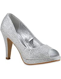 bbe00c33be7894 Stiefelparadies Damen Pumps High Heels mit Pfennigabsatz Glitzer Flandell