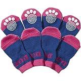 PET LIFE Fashion Designer Safety Comfortable Pet Dog Socks Shoes w/Rubberized Soles Grips, Large, Purple & Blue