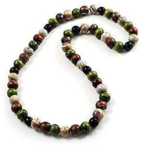 Wood Bead Necklace (White, Brown, Green & Black) - 66cm Length