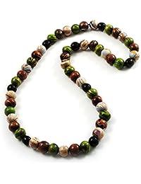 Madera collar de perlas (color blanco, marrón, verde y negro)–66cm longitud