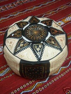 Marokkanisches Orientalisches Sitzkissen Fussstütze aus Leder Merzougha - Schwarz/Natur, 45cm (Schwarze Schafe Haut)