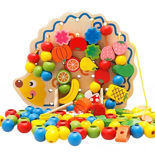 CGBOOM Highdas Holz Schnürsystem Perlen, Kreative Obst und Gemüse Threading String Perlen Bau-Spielzeug mit Hedgehog Brett für Kleinkinder
