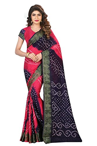 Saree (Purvi Fashion Pink and Blue Cotton Silk Printed Bhagalpuri Type Casual wearing With Blouse Women's Saree)  available at amazon for Rs.359