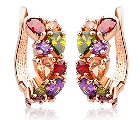 findout Damen rosé vergoldet CZ Ohrringe österreichischen Kristall, für Frauen Mädchen (f1627) (Frauen Österreichischen Kristall-ring)