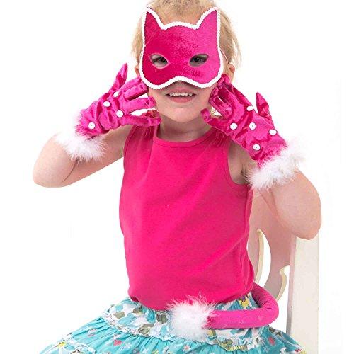 3-teiliges Katzen Kostüm Set - Maske, Handschuhe und Schwanz für Kinder - Lucy Locket (Katze Maske Und Schwanz)