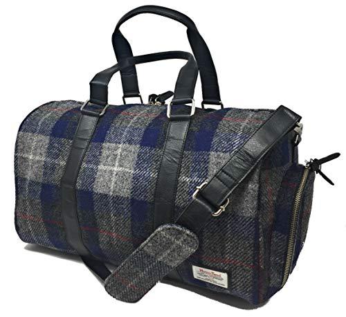 Harris Tweed Graue und Blaue Tartan Reisetasche -