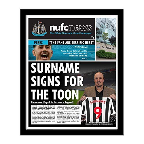 Official PERSONALISED Newcastle United FC Newspaper Framed - FREE PERSONALISATION