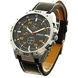 Gift Ideas - Men's Analog Watch Ernest - a765-orange Brand - Black PU Leather Bracelet - Round Dial Black Background