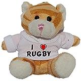 Gato marrón de peluche (llavero) con Amo Rugby en la camiseta (nombre de pila/apellido/apodo)