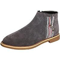 Bota planos cremallera de mujer,Sonnena Botas a la moda de mujer Vintage Botines Zapatos de fondo plano de cuero suave Cómodo calzado de arranque