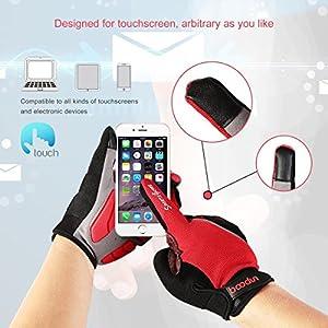 Youngdo Guantes de Ciclismo MTB para Hombre y Mujer Absorbentes Otoño Dedo Completo con Almohadilla Verano Compatibles con la Pantalla Táctil del Teléfon (Rojo M 19 - 21cm)