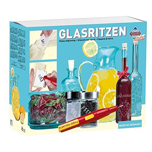 Pebaro 0357 - Bastelset Glasritzen,  Batteriebetriebener Gravierstift, 2 Gläser