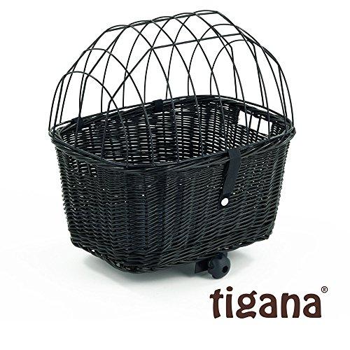 Tigana - Hundefahrradkorb für Gepäckträger aus Weide 44 x 34 cm mit Metallgitter und Kissen eckig Tierkorb in SCHWARZ