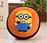 #10: Shopkooky Printed Designer Attractive Silicon Round Zipper Earphone Case | Headphones Cable Earbuds Wire Storage Box | Jewelry Organizer Protector Pouch Bag | Return Gift | Birthday Gifts Online (Minion)