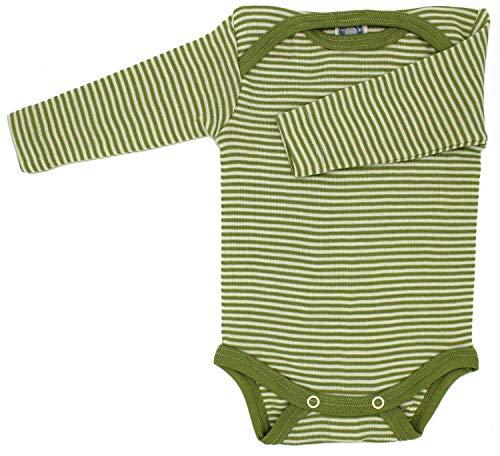 Cosilana Baby-Body, Wollbody, Größe 62/68, Farbe Grün geringelt, 70% Wolle und 30% Seide kbT
