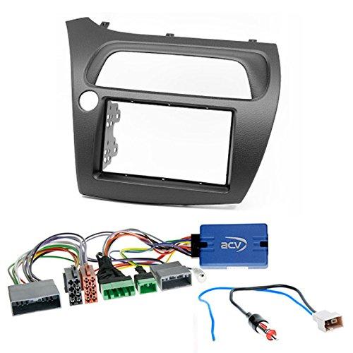 Carav 11-120de LP de 2de radio doble DIN Kit de instalación de Dash Set con volante Mando a distancia y antena adaptador...