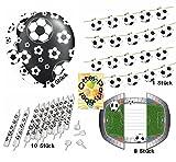 Fußball Deko-Set Geburtstag Girlande + Luftballons + Kerzen + Einladungskarten für 8 Fußballfans