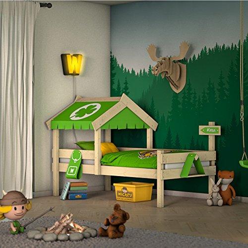 Wickey letto per bambini crazy buddy letto avventura singolo con tetto e rete a doghe, verde mela