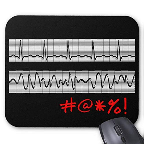 keiwiornb Computer Accessories Anti-Friction Wristband Funny Cardiac Rhythm Strip Gifts Mouse Pad 18X22cm