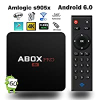 ABOX 4K Android TV Box, Abox Pro Smart TV Box with Wall Connector RF Remote and H.265 Full HD Decoding, WIFI