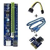 6 Pin PCI-E 1x a 16x Tarjeta de Adaptador Riser Amplificada Mejorada & Cable de Extensión del USB 3,0 & Transmisión de SATA & Adaptador Canalización Vertical GPU, Graphic Card Express Mining Eth