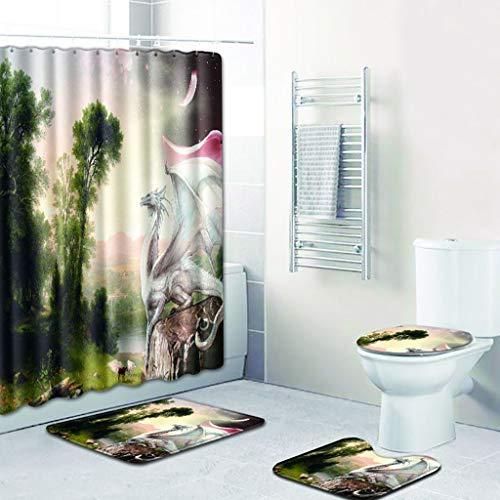 eliaSan Bathroom 4 stücke Bad duschvorhang Teppich Matte Set Set wandkunst Muster duschvorhang mit wc pad Abdeckung badematten teppiche für Badezimmer dekor