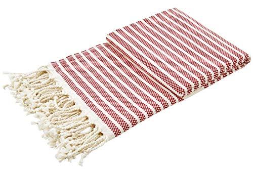 done. Plaid Lounge Stripes leichte Sommerdecke mit Fransen Plaid Überwurf Picknick Strand Biergarten 100x180cm Streifen rot Creme - Rot Plaid Lounge