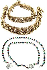 Charms Gold Plated Anklet for Women (Golden) (Combo-45-07)