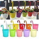 Reelva Blumentöpfe zum Hängen, Metall, 10 ausgewählte helle Farben, Heim- und Gartendekoration, Geschenkidee, 10 Stück