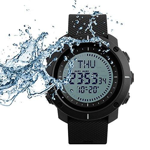 Skmei Reloj Digital Deporte Supervivencia brújula 50m Impermeable Grande Cara Reloj de Pulsera cronómetro Alarma